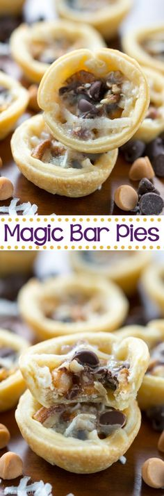 Mini Magic Bar Pies taste like a magic bar in a pie crust. An easy recipe for a bite sized pie full of chocolate and butterscotch flavor!