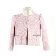 ◈ Casaco em chanel na cor branco e cor-de-rosa; com aplicação de cristais nos bolsos e na frente do casaco. ◈ [Composição: tecido exterior: 43% algodão, 47% viscose e 10% nilon * forro: 100% viscose] - [Tamanho kids: 2 * 4 * 6 * 8 * 10] E 10, Chanel, Exterior, Blazer, Couture, Kids, Jackets, Women, Fashion