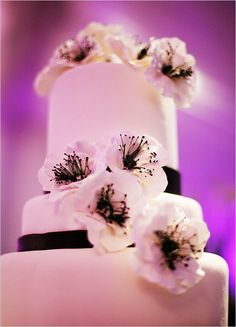 black and  white wedding cake; with pops of purple would be perfect