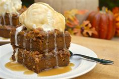 Satisfy your fall cravings with this decadent, pumpkin-spiced dessert. Undercook ever-so-slightly for a warm, gooey center and top with ice cream.