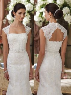 Sold separately, scalloped lace cap sleeve shoulder piece with open back and covered buttons that attaches to strapless dress styles. Shown with David Tutera for Mon Cheri wedding dress Kerri style 214214. Sizes: XS – XXL Colors: Ivory, White