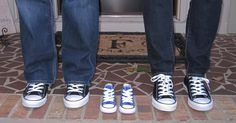 Great way to announce.. It's a boy!  http://www.classicsportshoes.com/kidsconverse.html