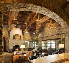 Warmth of a rustic living room. interesting wood beams and stone walls. Sweet Home, Timber Frame Homes, Timber Frames, Timber House, Boho Home, Log Cabin Homes, Log Cabins, Simple House, Rustic Design