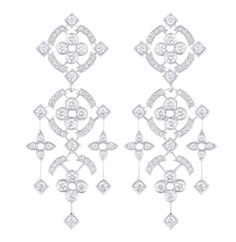 Louis Vuitton 'Dentelle d'hiver' pendant earrings in white gold, with 131 diamonds at 2.31cts.