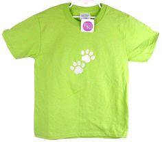 Sports Paw Prints Mascot T-Shirt Lime Green Youth SM Short Sleeve Dog Monogram…
