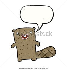stock vector : happy beaver cartoon