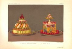 """Antique chromolithograph of beautifully presented desserts: 1) """"Apples a la Parisienne"""" and 2) fruit jelly,  from """"The Royal Cookery Book"""" (the English edition of """"Le Livre de Cuisine"""") by Jules Gouffe, 1868.  This antique print is in excellent condition with no tears or stains.  Overall size, 6.75 x 9.5."""""""