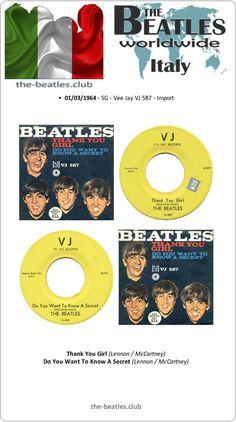 """The Beatles Italy SG Vee Jay VJ 587 Import Vinyl Record Single 7"""""""