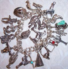 Vintage Native American 22 Sterling Charm Bracelet, Southwest Charm Bracelet