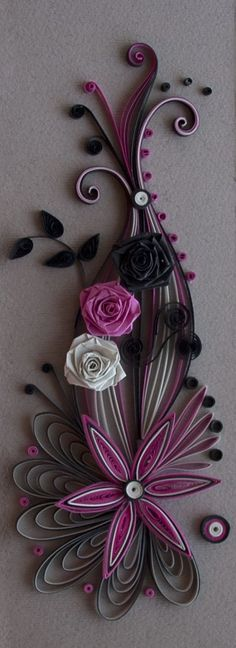 Neli Quilling Art: Quilling card purple and black Neli Quilling, Origami And Quilling, Quilling Paper Craft, Paper Crafts, Quilled Roses, Toilet Paper Roll Art, Rolled Paper Art, Quilling Patterns, Quilling Designs