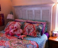 queen size shutter headboard, repurposing upcycling