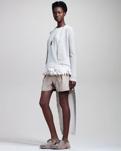 Brunello Cucinelli English-Rib Tailcoat Cardigan, Butterfly-Hem Top, Dog-Tag Necklace & Pleated Suede Shorts - Neiman Marcus