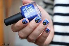 Graphic nail art feat. Hey Sailor (NCLA) & Freya's Cats (Picture Polish).