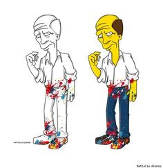 Jackson Pollock passat per l'estètica groga dels Simpsons