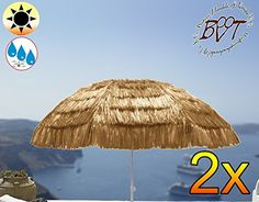 Pack of 2 XXL Parasol Umbrella Hawaii Style Beige White, Extreme Weather Resistant for Caribbean Holiday Home, approx. 180 cm – 200 cm Heavy Duty an XXL Folding Umbrella Folding Parasol Sun Shade Garden Outdoor Beach Picnic Camp Fire, Portable, Sea Water, High Quality Tough Rugged HEAVY DUTY Umbrella Folding Umbrella, Beach Umbrellas, Sun Umbrellas, Sun Umbrella, Sun Protection