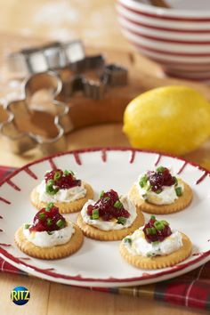 Raspberries and cream top these Christmassy crackers!