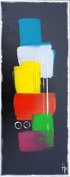 """tableau peinture vertical """" petite douceur 2 """" - Peinture, 20x50x1,8 cm ©2017 par Sandrine Hartmann - vertical, petit, peinture, coloré, fond noir, art, france, abstrait, fait main, moderne"""