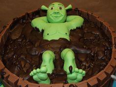 shrek in een modderbad-taart