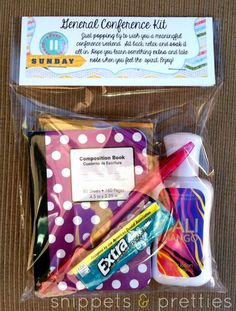Snippets and Pretties: General Conference Kit. Good idea to give to the ladies you visit teach.