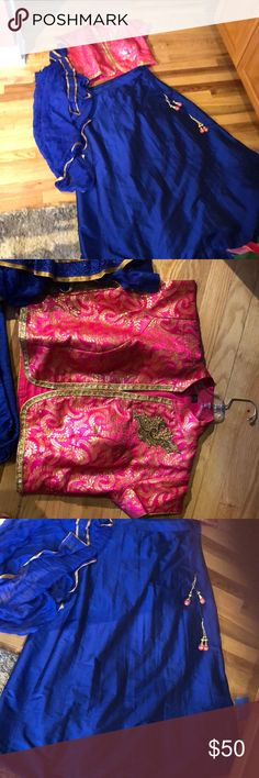 """Indian blouse and skirt with shawl NWT  Smoke Free Home  100% silk// cotton lining   Measurements   top 22"""" shoulder to shoulder// 18"""" top to bottom  (its meant to be a belly top)   Skirt: 20"""" around and 43"""" top to bottom has inside lining to make it fluff out. Dresses"""