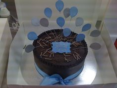 Blue on chocolate ganache classic birthday cake
