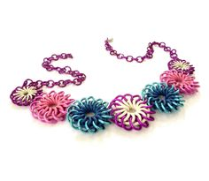 Items similar to Flower Chainmaille Necklace - Purple, Pink, and Blue on Etsy Jump Ring Jewelry, Rubber Rings, Chainmaille Bracelet, Funky Design, Chain Mail, Beads And Wire, Wire Art, Metal Working, Belly Button Rings