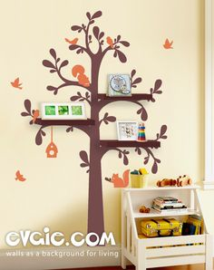 Shelving Tree Wall Decal – Nursery Decoration – evgieNev