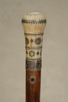 Preview for A wonderful early English ivory pique cane
