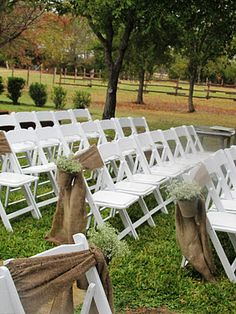 Burlap for wedding chairs