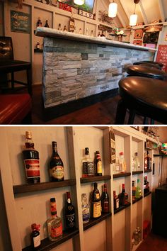 Stone Bar and Bottle Storage in the Pub Shed