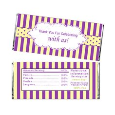 Printable Purple Yellow Stripes Party Candy Bar Wrapper - Baby Shower Decoration Birthday Party Decoration Birthday Favors