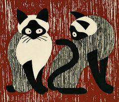 Kiyoshi Saito Two Cats 1955