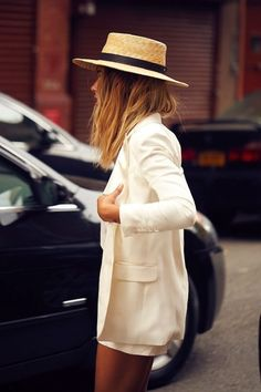 A Cool All-White Look and straw hat