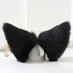 57 руб черные Новое поступление косплей ну вечеринку аниме костюм кот фокс уши длинные волосы клип мода 5 цветов B30 купить на AliExpress