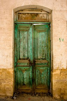 Photograph Old Rustic Decaying Sea Foam Mint Green Egyptian Rectangular Wood Door by HenaTayebPhotography $15