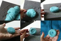 How To: Make a Big Needle Felted Button.  Could be used as a brooch or simply as a decoration.  TUTORIAL complete with full instructions and photographs.
