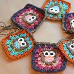 Crochet For Children: Owl Granny Square Crochet Pattern