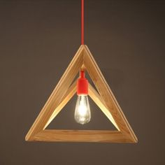 "Geometric 11.8""Wide Wood Designer Pendant Light with Red Cord"