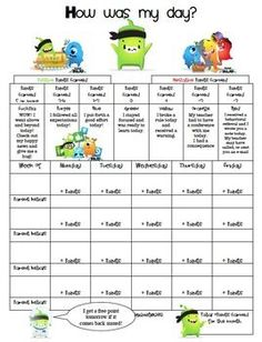 Here is the form that I posted on my blog.  At the end of each day students record the number of positive or negative points they have earned to bring home for parents.  I used to use a clipchart, so the concept borrows ideas from that philosophy.  **Class Dojo is a free website for teachers to use and it is awesome!