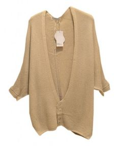 Seven Sleeves Cardigan with Button Detail in Pure Color - Knitwear - Clothing