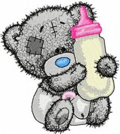Teddy baby with bottle milk machine embroidery design. Machine embroidery design. www.embroideres.com
