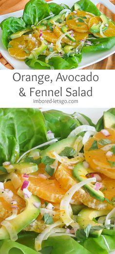 Orange Avocado & Fennel Salad with a delicious, simple vinaigrette. Jane/Bob brunch May 23 2016. No avocado, grill fennel, sub for poppyseed dressing.