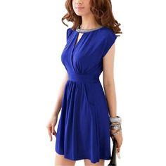 $11 Allegra K Woman Rhinestones Decor Neck Crossover Front Dress Blue XSFrom Allegra K $11