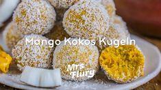 Mango Kokos Kugeln - Gesunde Bliss Balls - Basisch, ohne weissen Zucker,... Krispie Treats, Rice Krispies, Mango, Bliss Balls, Healthy Snacks, Sweet Tooth, Muffin, Low Carb, Vegan