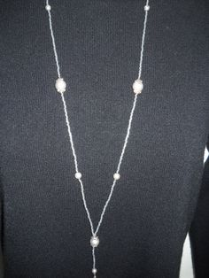 Beaded Lanyard Lt grey with silver tone accents by liverbitz, $15.00