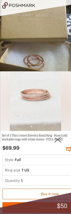 Set of 3 Thin 1.4mm Rose Gold Eternity Bands/Sz 7 3 Rose Gold Stackable Eternity Bands, size 7. I bought these on Etsy as a stand-in for my wedding day since my bands weren't quite ready yet. As you can see from photos 6 & 7 (taken on our wedding night) they matched PERFECTLY with my engagement ring 💍Only worn a couple of times so still in EUC (photos 1 & 8 were taken today) & I also included screenshots of the details/description from the Etsy shop. Please feel free to ask any questions…