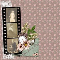 How Time Flies ~ interesting 'through the years' layout with striking filmstrip and flower cluster.