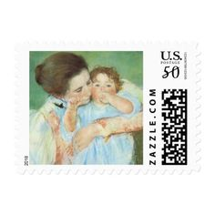Mother and Child by Mary Cassatt Vintage Fine Art Postage #mothersday #postage #stamps