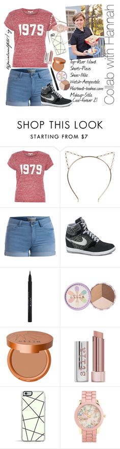 """""""Hannah Hart"""" by yooitshrisiii ❤ liked on Polyvore featuring River Island, Boohoo, Pieces, NIKE, Stila, Forever 21 and Aéropostale"""