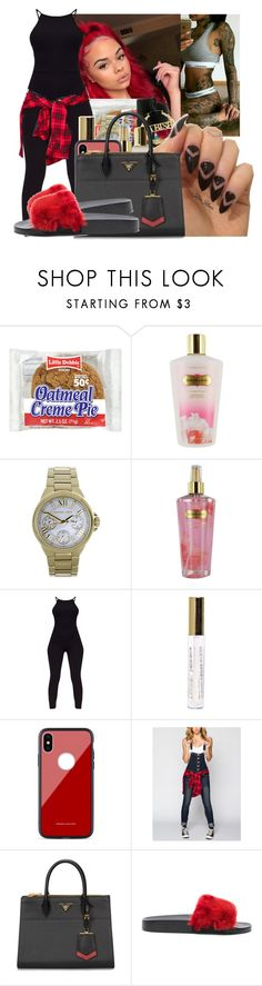 """""""SLIDES: Red/Black⚫"""" by crrminter ❤ liked on Polyvore featuring Victoria's Secret, Michael Kors, Almost Famous, Prada and Givenchy"""